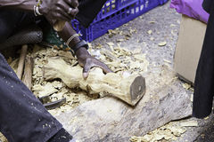 Craftsman working with wood. Detail of an ancient craft, art wood Stock Image