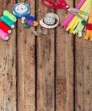 Craftsmanship. Hipster kit closeup clothing table leisure stock photo