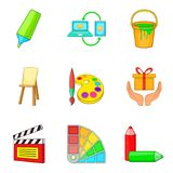 Craftsmanship icons set, cartoon style Royalty Free Stock Photography