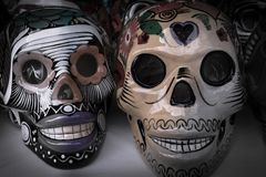 The craftsmanship of the skull heads of Mexico. The culture of the celebration of death in Mexico is very rich and varied, the popular craftsmanship in the stock image