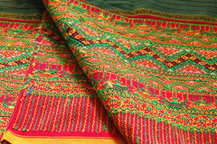 Craftsmanship thai. Striped sarong ,Colorful pattern beautiful Royalty Free Stock Image