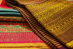 Craftsmanship thai. Striped sarong ,Colorful pattern beautiful Stock Images