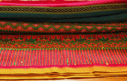 Craftsmanship thai. Striped sarong ,Colorful pattern beautiful Stock Photo