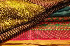 Craftsmanship thai. Striped sarong ,Colorful pattern beautiful Royalty Free Stock Images