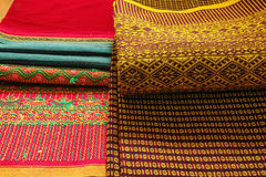 Craftsmanship thai. Striped sarong ,Colorful pattern beautiful Royalty Free Stock Photos