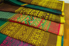 Craftsmanship thai. Striped sarong ,Colors pattern beautiful used  as background Royalty Free Stock Photography