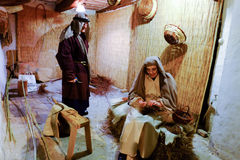 Craftsmen baskets in Christmas live nativity scene Stock Images