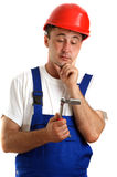 Craftsmen with safety helmet holding Royalty Free Stock Photos