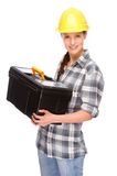 Craftsperson. Full isolated studio picture from a young craftswoman royalty free stock image