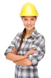 Craftsperson. Full isolated studio picture from a young craftswoman stock image
