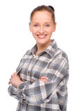 Craftsperson. Full isolated studio picture from a young craftswoman stock photos