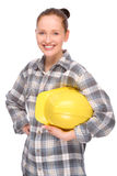 Craftsperson. Full isolated studio picture from a young craftswoman stock images