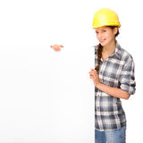 Craftsperson. Full isolated studio picture from a young craftswoman royalty free stock photos