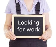 Craftsperson with blackboard: looking for work Royalty Free Stock Photography