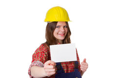 Craftswoman with card Royalty Free Stock Photography