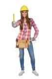 Craftswoman che tiene un righello giallo Fotografie Stock