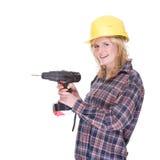 Craftswoman com máquina da broca fotos de stock