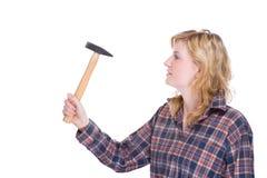 Craftswoman com martelo fotografia de stock