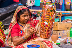 Craftswoman creating artistic items Royalty Free Stock Photo