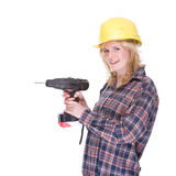 Craftswoman with drill machine. Full isolated portrait of a beautiful caucasian craftswoman with a drill machine stock photos