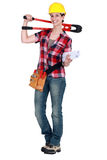 Craftswoman holding a spanner Stock Image