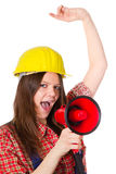 Craftswoman with megaphone Royalty Free Stock Image