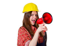 Craftswoman with megaphone Royalty Free Stock Photography