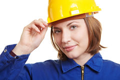 Craftswoman Putting On Safety Royalty Free Stock Photos