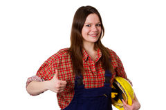 Craftswoman showing thumbs up Royalty Free Stock Photos