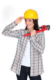 Craftswoman tipping her hat stock image