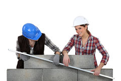 Craftswomen measuring a wall Stock Photography