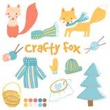 Crafty fox vector set Stock Photos