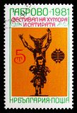 The Crafty Peter, Sculpture by Georg Tschapkanov, International Festival of Humour and Satire serie, circa 1981. MOSCOW, RUSSIA - SEPTEMBER 15, 2018: A stamp royalty free stock image