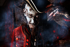 Crafty pirate. Portrait of a noble brave dead pirate. Zombie pirate. Halloween royalty free stock photography