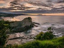 A crag in the beach in Sopela coast. Euskadi Stock Photo