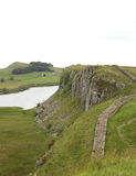 Crag Lough at Hadrian's wall. Part of the walk along Hadrian's wall between Once Brewed and Housesteads with Crag Lough Stock Images