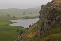 Cragg Lough na Romańskiej ścianie Northumberland, Anglia Zdjęcie Stock
