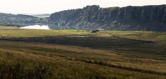 Cragg Lough on the Roman Wall. Northumberland, England. UK. In the early morning Royalty Free Stock Image