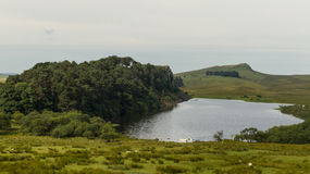 Cragg Lough on the Roman Wall. Northumberland, England. Royalty Free Stock Images