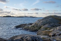 Craggy coastline in western Sweden. In winter royalty free stock image