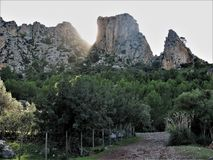 Craggy mountains on the island of Mallorca. Limestone crags above pine forest in the Tramuntana Mountains of Mallorca Stock Image