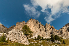 Craggy peaks in Dolomites Royalty Free Stock Photo
