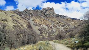 Craggy Peaks of Slate Canyon. The craggy peaks and outcrops of Slate Canyon in Provo, Utah, USA stock images