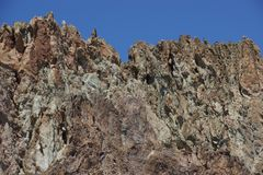 Craggy rhyolite ridge. Along the Crooked River at Smith Rock State Park, Central Oregon Stock Photo