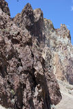 Craggy rhyolite ridge. Along the Crooked River at Smith Rock State Park, Central Oregon Stock Images