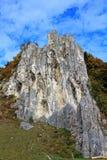 Craggy rock in Altmühltal nature park Stock Photos