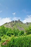 Craggy rocks on active volcano in Japan. Showa-shinzan is a volcanic lava dome which is 398 meters high, and is located 2 km east Mount Usu, Hokkaido, Japan royalty free stock image