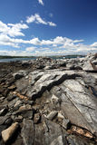 Craggy Shoreline. This is the rocky coastline of Peaks Island, Maine, near Portland stock photo