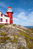 Craggy View. Bright Red Lighthouse with Craggy Rock Outcrop and Horizon on Sunny Day Royalty Free Stock Image