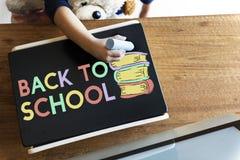 Craie d'écriture d'enfant colorant Teddy Concept Images stock